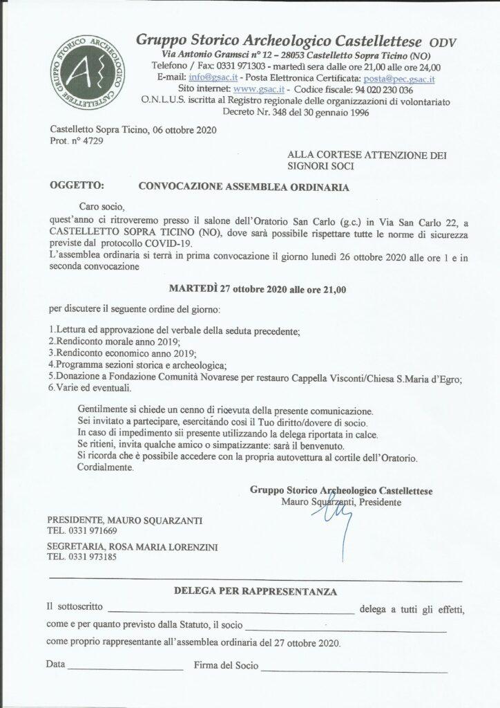 Convocazione assemblea ordinaria Soci 2020 –  27/10/2020 ore 21.00