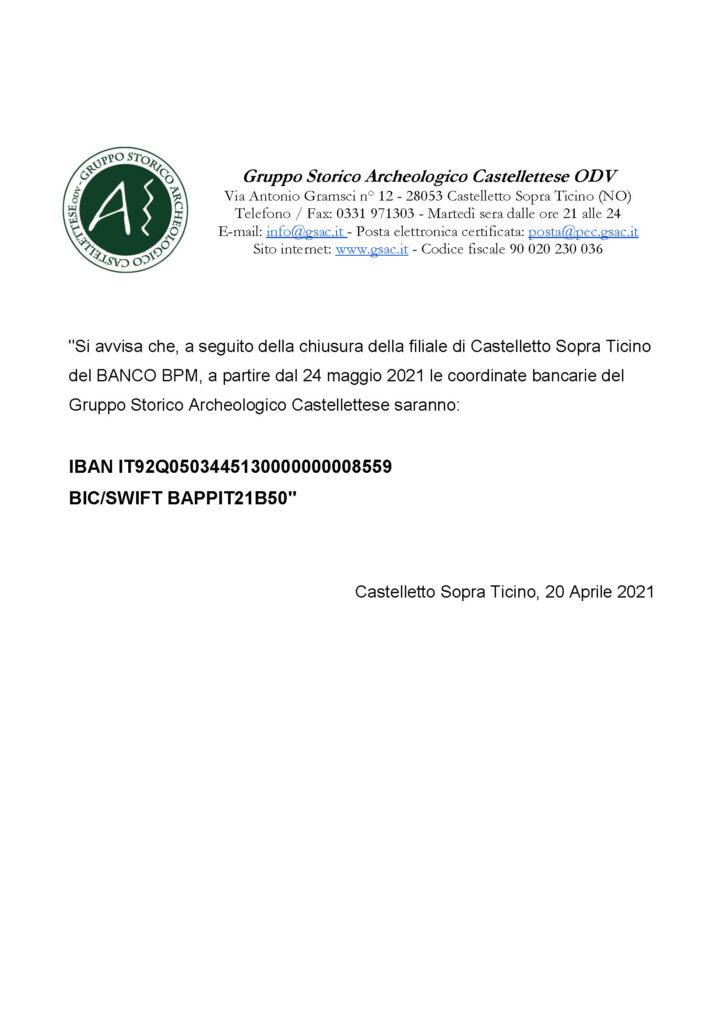 24 Maggio 2021 – Cambio coordinate bancarie Gruppo Storico Archeologico Castellettese