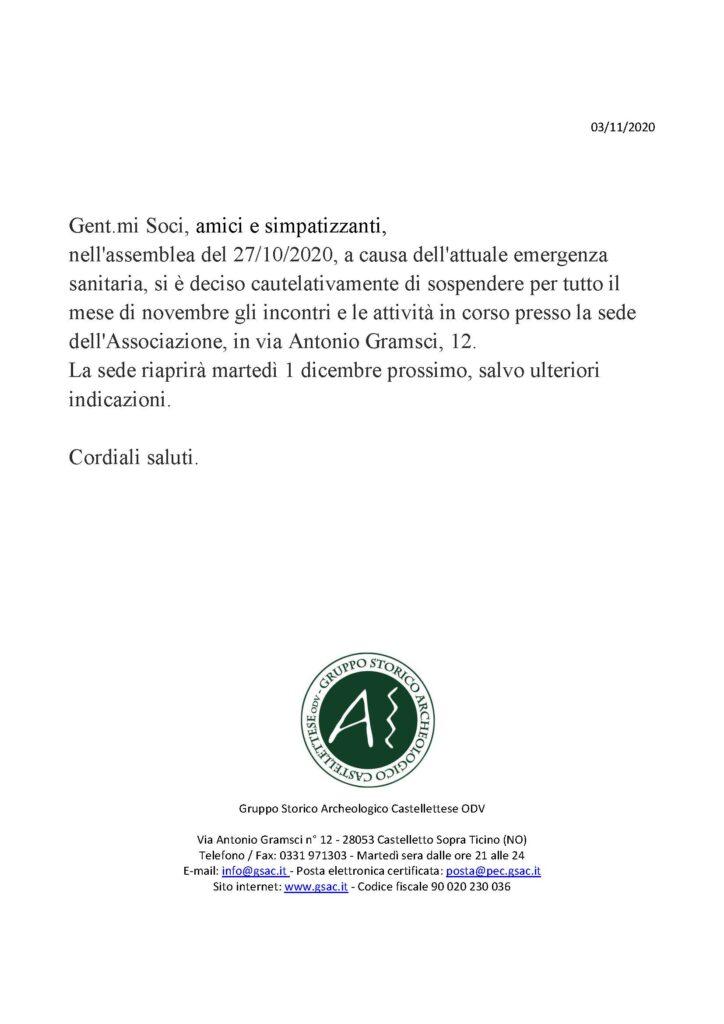 Chiusura temporanea attività per l'emergenza sanitaria Covid-19