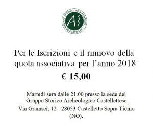 Rinnovo/Iscrizioni quota associativa 2018