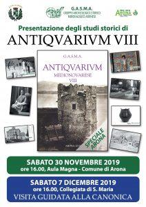 Presentazione degli studi storici: ANTIQVARIVIM VIII – 30.11.2019