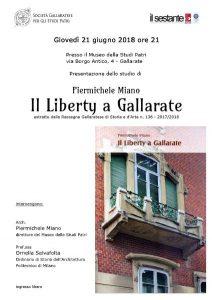 """21 Giugno 2108 ore 21.00 """"Il Liberty a Gallarate"""" – Studio di Piermichele Miano"""