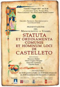 Presentazione Statuti Castellettesi – Venerdì 3 Maggio 2019 ore 18.30