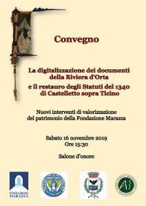 Convegno: La digitalizzazione dei documenti della Riviera d'Orta e il restauro degli Statuti del 1340 di Castelletto Sopra Ticino – 16.11.2019
