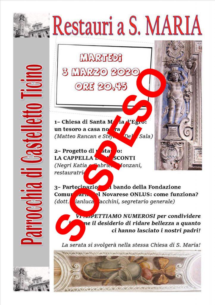 Restauri a Santa Maria D'Egro – 3 Marzo ore 20.45