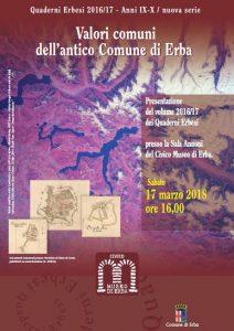Presentazione del volume 2016/17 dei Quaderni Erbesi – 17 Marzo 2018