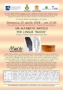 """Conferenza: Un alfabeto antico per lingue """"Nuove"""" 22 Aprile 2018"""