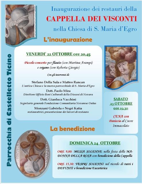 venerdì 22 sabato 23 e domenica 24 ottobre – inaugurazione e benedizione  della Cappella dei Visconti di Santa Maria d'Egro