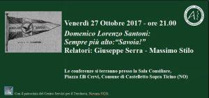 """Domenico Lorenzo Santoni: Sempre più in alto:""""Savoia!"""" Venerdì 27 Ottobre 2017"""